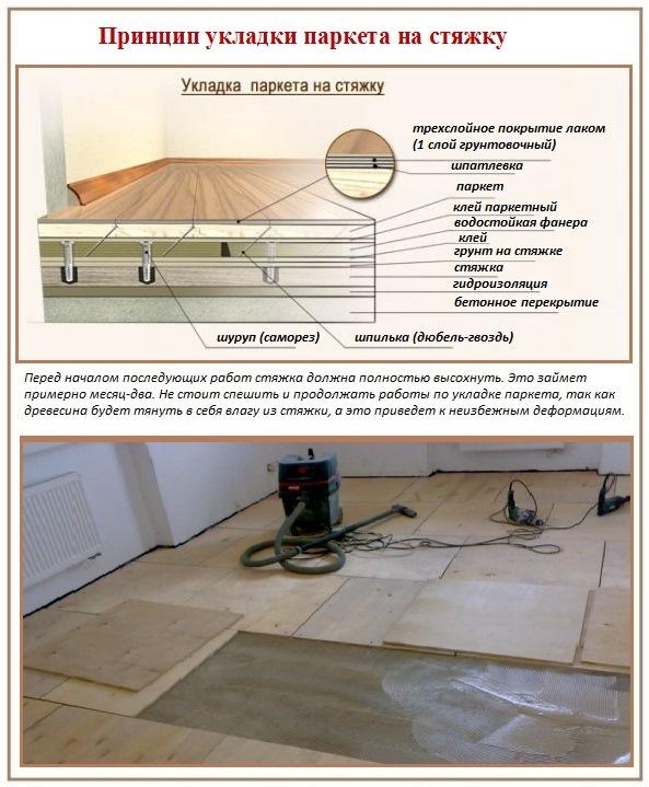 Принцип укладки паркета на бетонное основание со стяжкой
