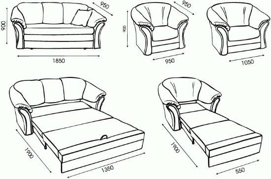 Типовые размеры дивана для мансарды
