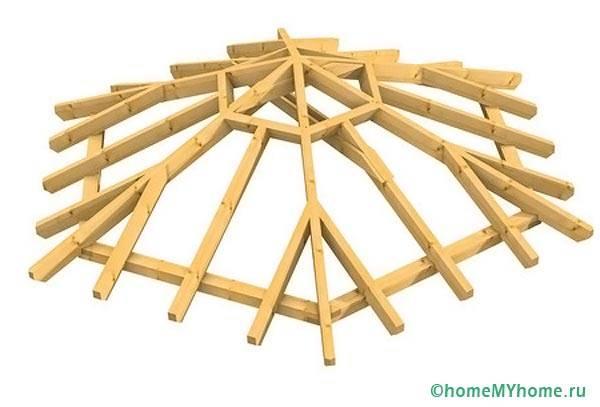 Вариант конструкции восьмиугольной крыши