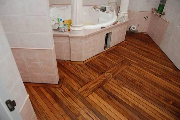 пол в ванной в частном доме, фото 36