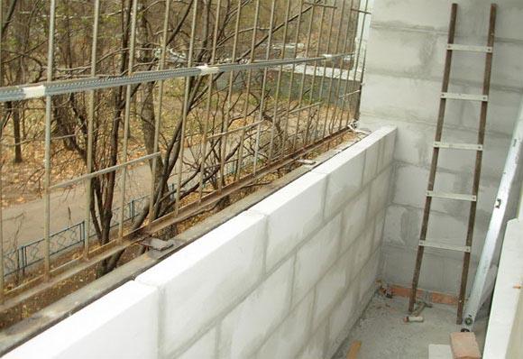Парапет балкона из пеноблоков