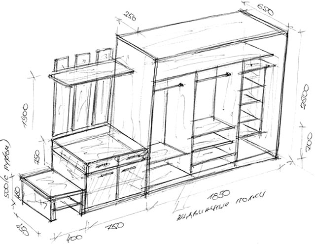 чертеж шкаф