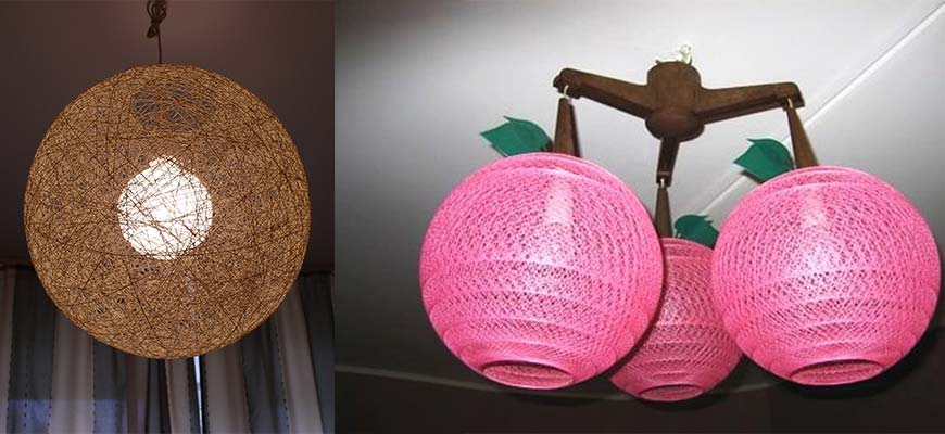 Плафон из ниток и воздушного шара
