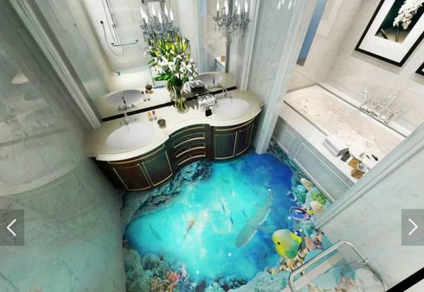 Наливной пол в ванной комнате, фото 41