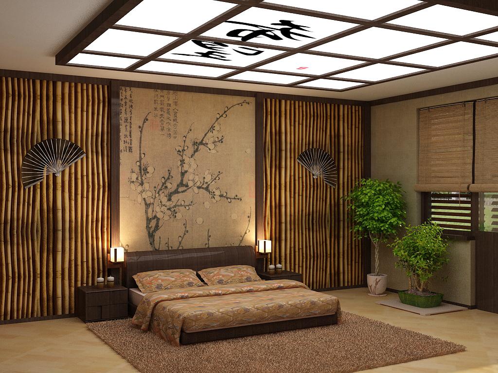 светлый дизайн спальни в японском стиле