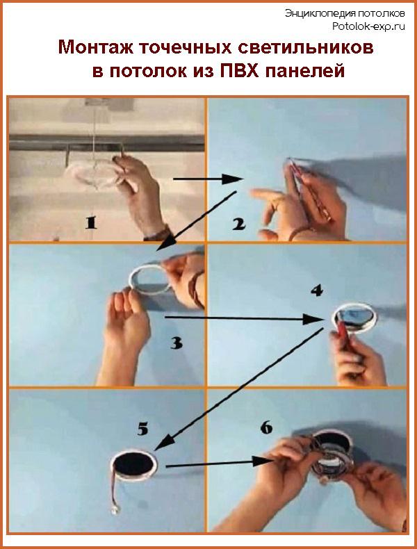 Монтаж точечных светильников в потолок из ПВХ панелей