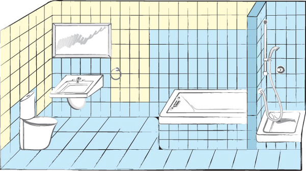 Схема гидроизоляции в ванной