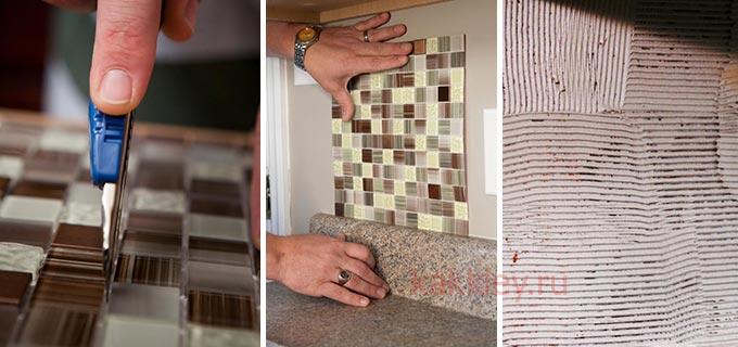 Процесс поклейки мозайки на сетке