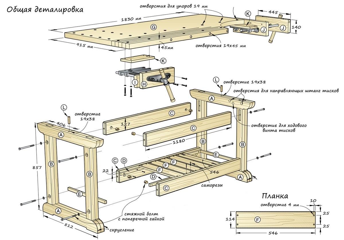 Общий чертеж столярного верстака с размерами и деталировкой.