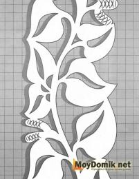 Эскиз наличников на окна - орнамент из плетущихся листочков (правая)