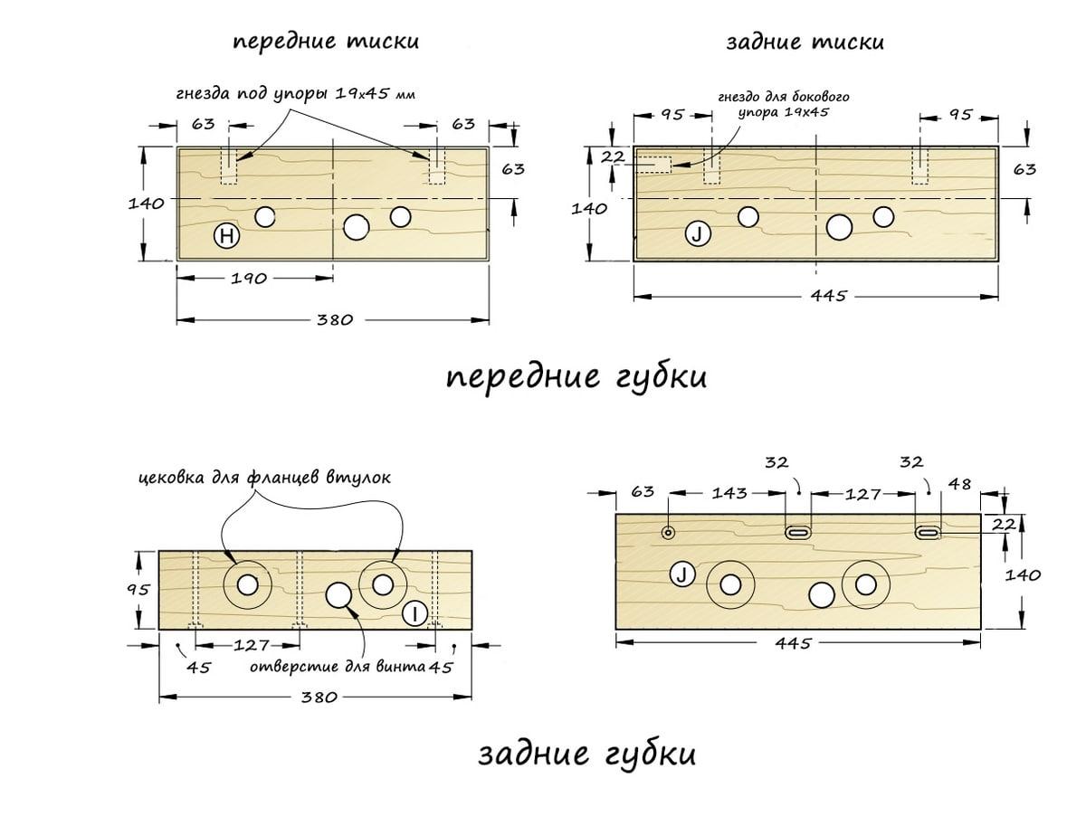 Схема: губки тисков для столярного верстака своими руками.