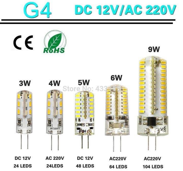 капсульные лампы G4 на 12В и 220В
