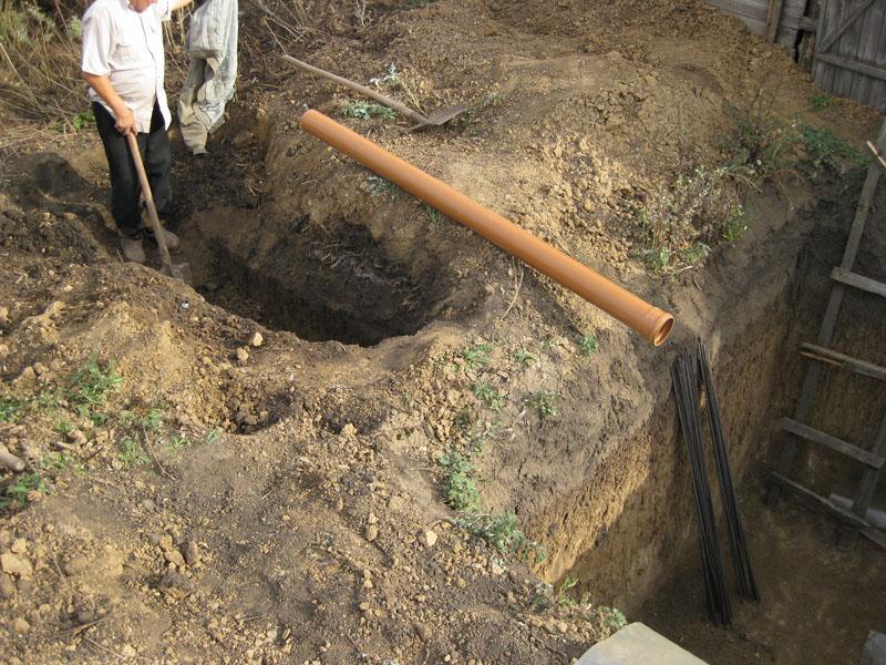 Рытье траншеи для прокладки канализационных труб