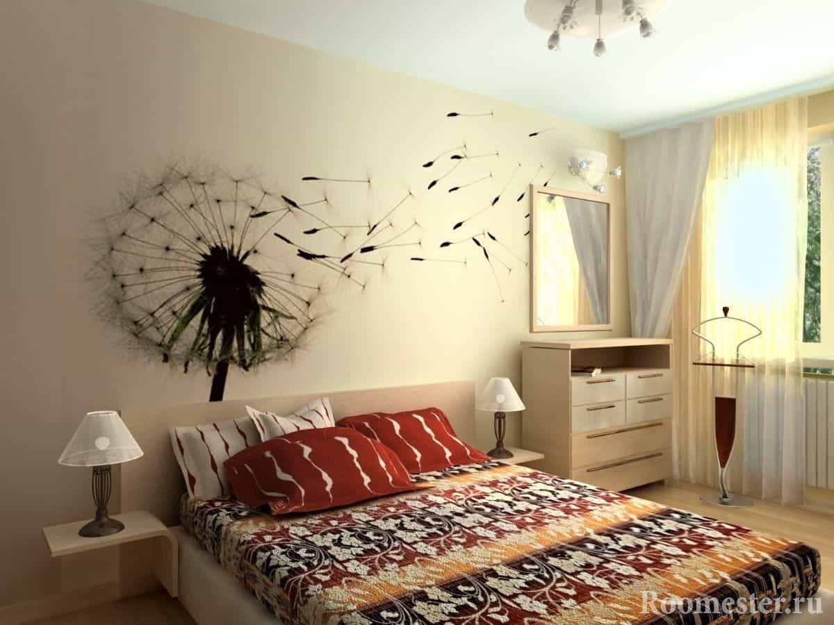 Роспись стены в спальне