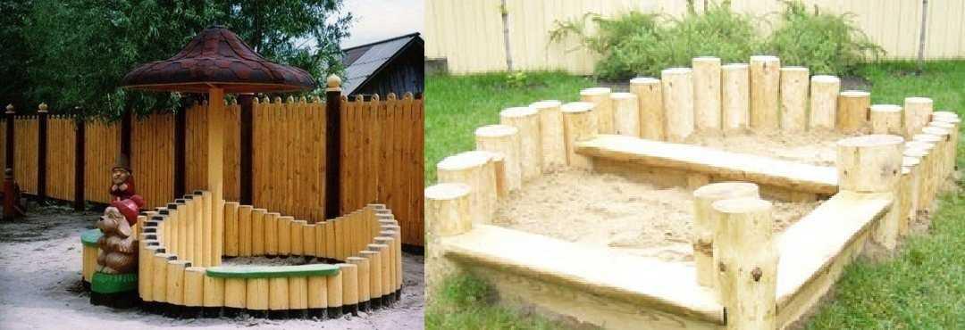 Ограда для песочницы из бревен