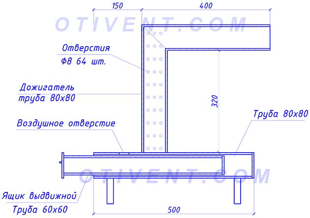 Схематическое изображение простой печки