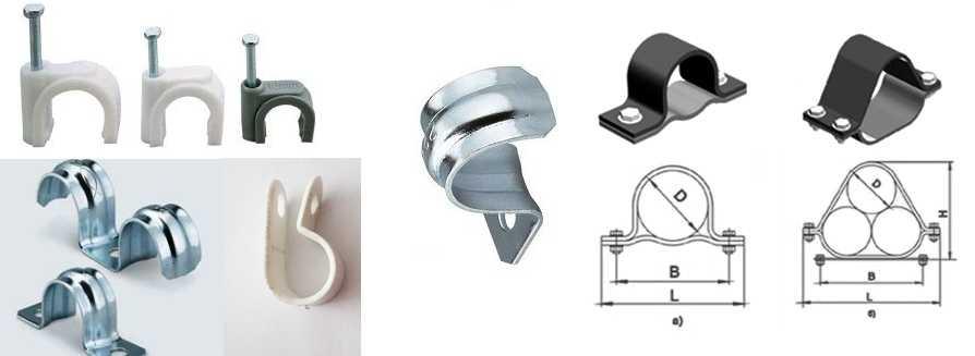 Клипсы и скобы для крепления кабеля к стенам