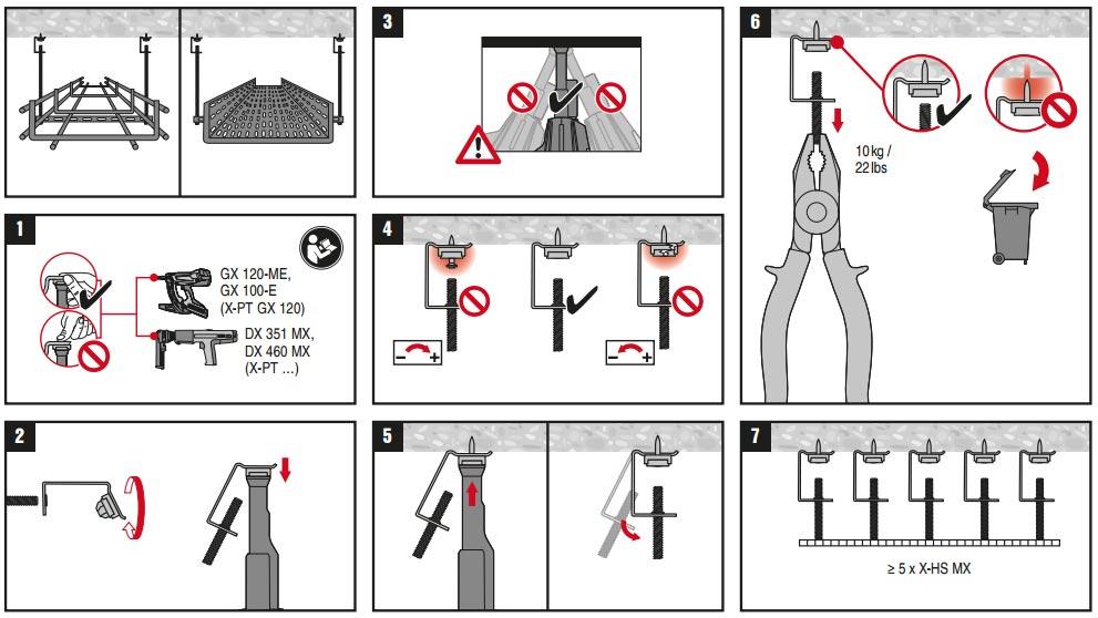 крепление и подвеска кабельных лотков на шпильках и креплении Хилти
