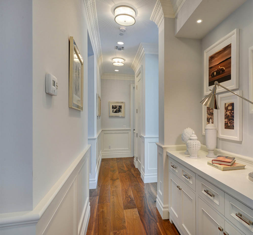 alluring-hallway-lighting-fixtures-and-modern-vanity-cabinet-with-laminate-wood-floor