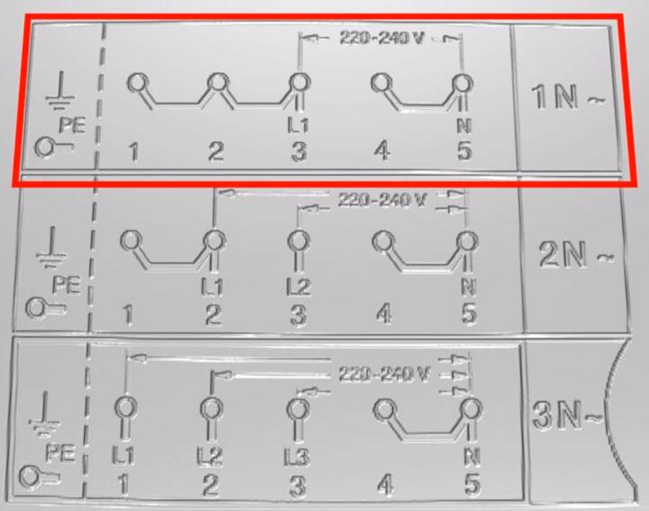 схема подключения клемм однофазная для варочной панели bosch