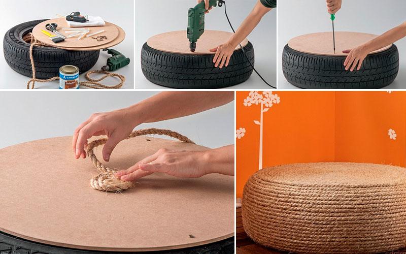 Пошаговый процесс изготовления пуфика