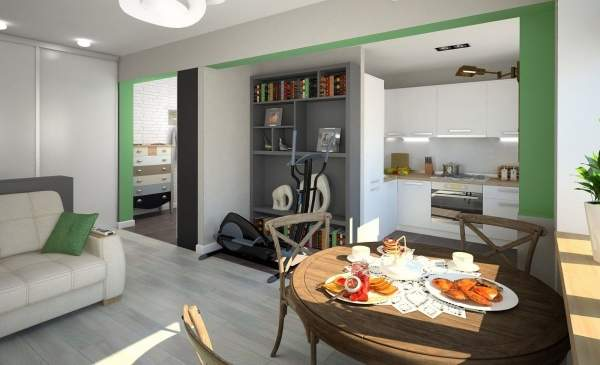 Современный дизайн зала в квартире в белом и зеленом цвете