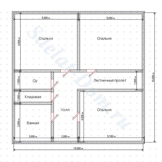 План дверей второго этажа