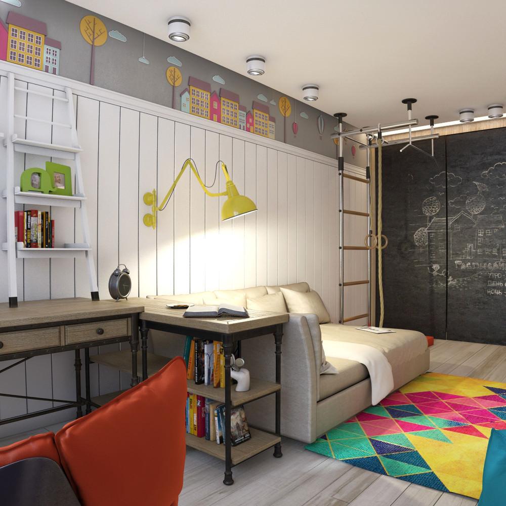большая детская комната для мальчика фото