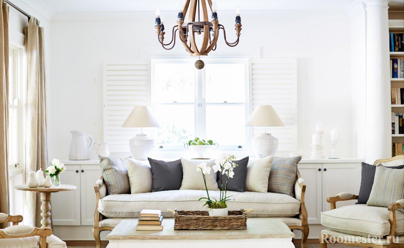 Легкий и уютный стиль прованс в гостиной