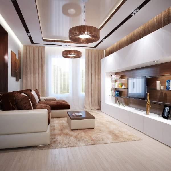 Современный дизайн зала в квартире в белом и коричневом цвете
