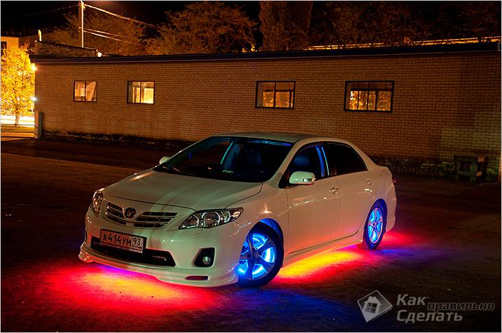 Светодиодная лента для подсветки автомобиля