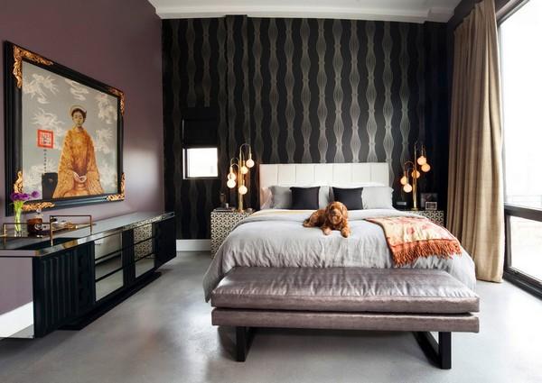 как красиво наклеить обои в спальне двух цветов фото 3