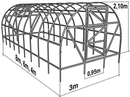 Чертеж сводчатой теплицы из поликарбоната