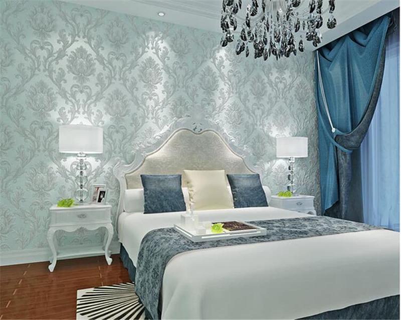 Голубые обои для спальни 2