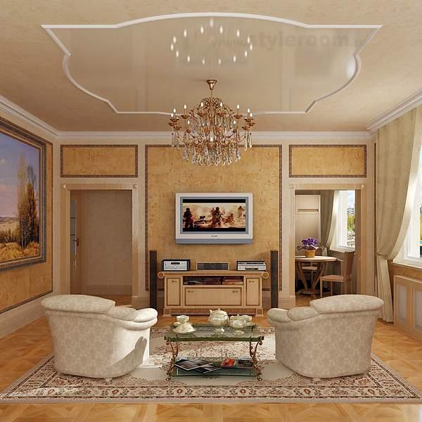Шикарный классический стиле в интерьере гостиной квартиры