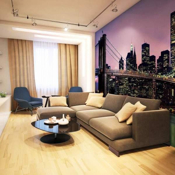 Дизайн гостиной в маленькой квартире - хрущевке с фотообоями на стене