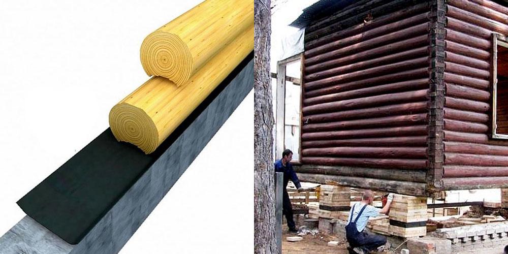 Горизонтальная защита фундамента под деревянными стенами