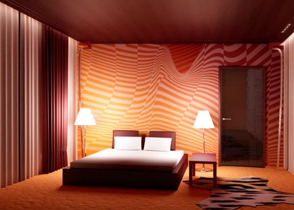 дизайн спальни с обоями двух цветов фото 23