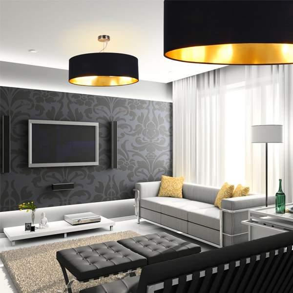 Современный дизайн зала в квартире в черно-белом цвете