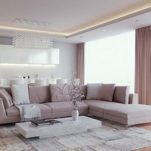 Интерьер гостиной в современном квартире - красивое сочетание цветов