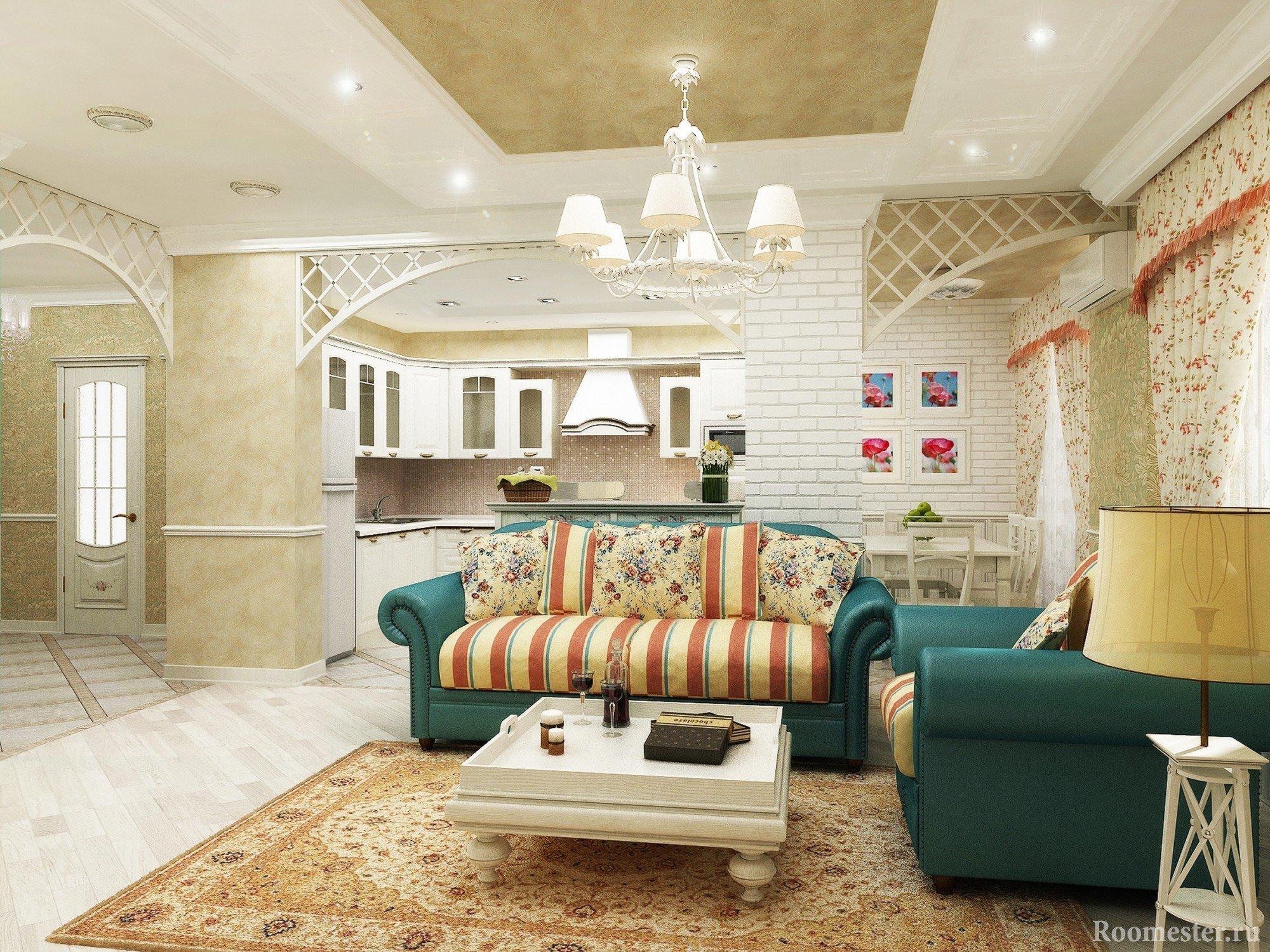 Сочетание текстиля и штор в гостиной