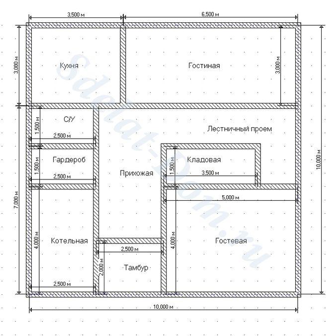 Чертим помещения первого этажа