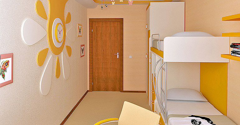 оранжевый стиль детской комнаты