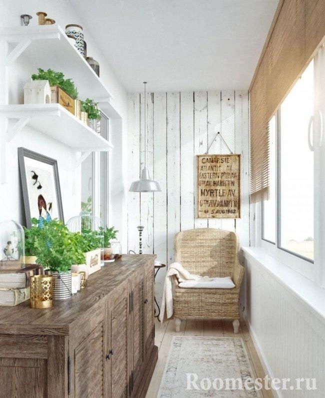 Обустройство балкона в стиле прованс