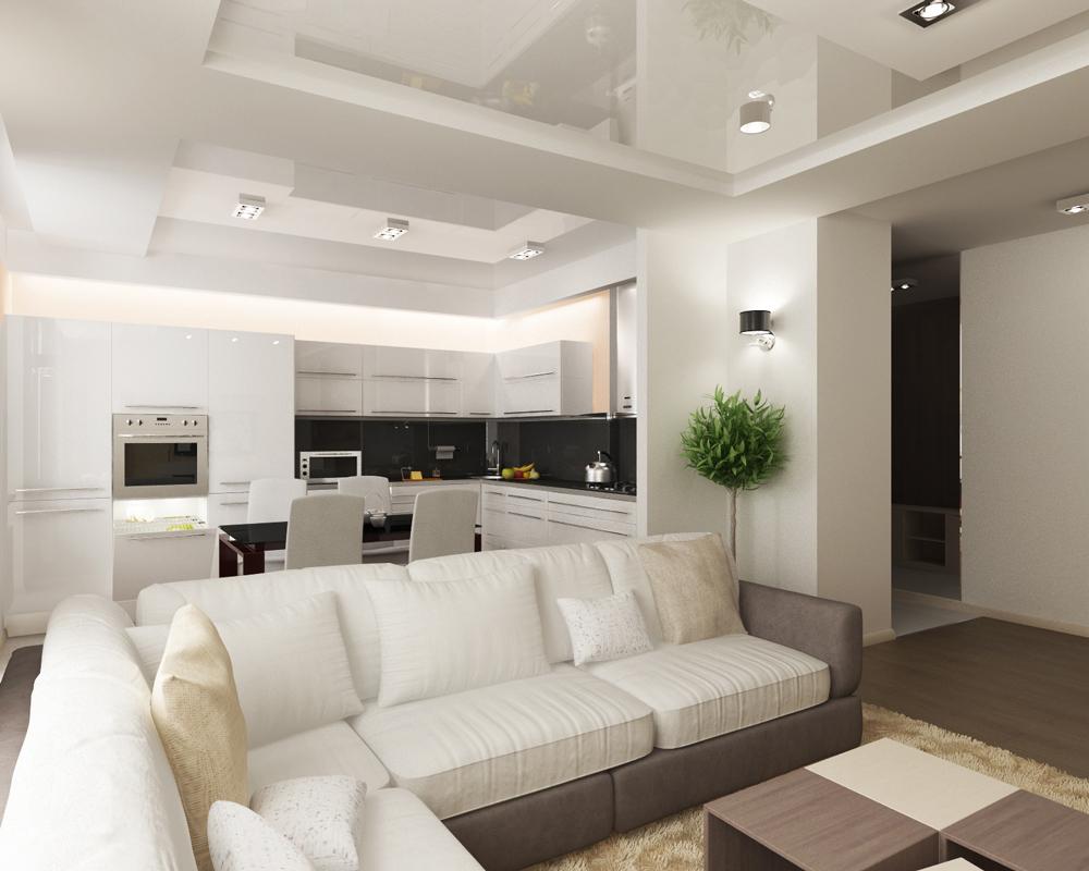Зонирование помещения диваном