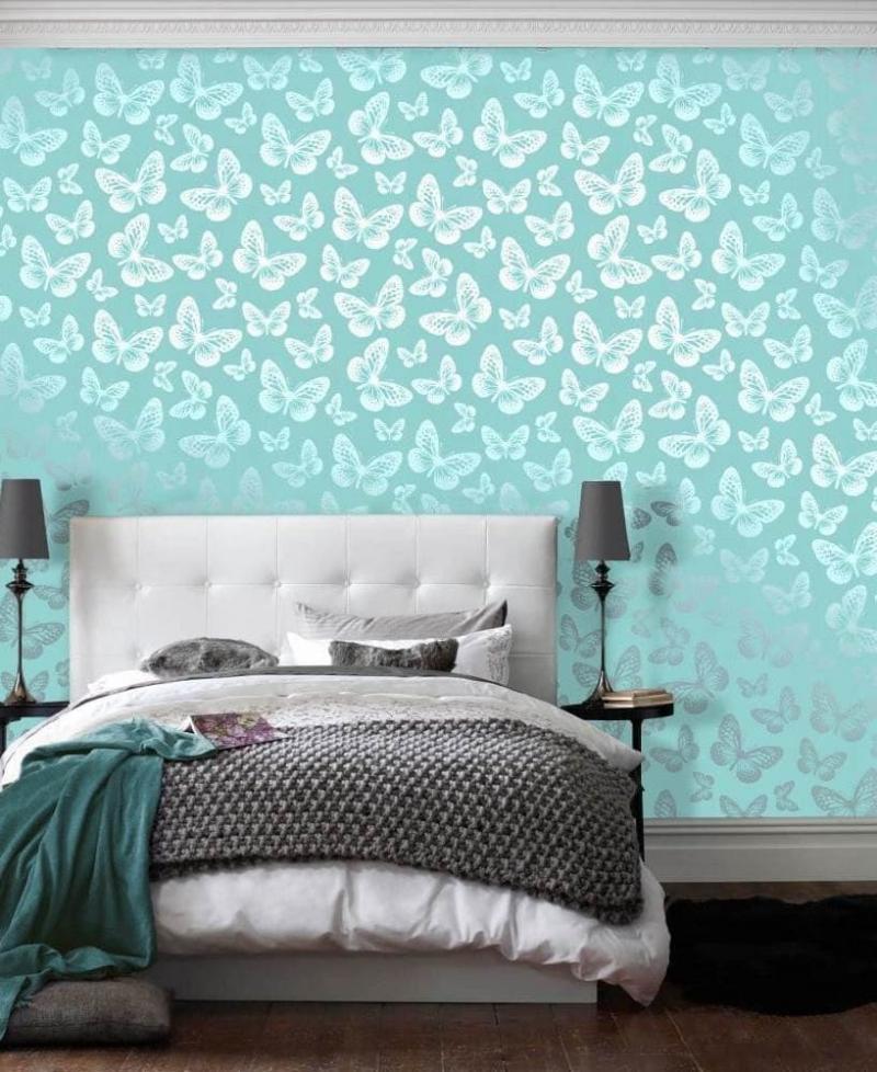 Голубые обои для спальни 5