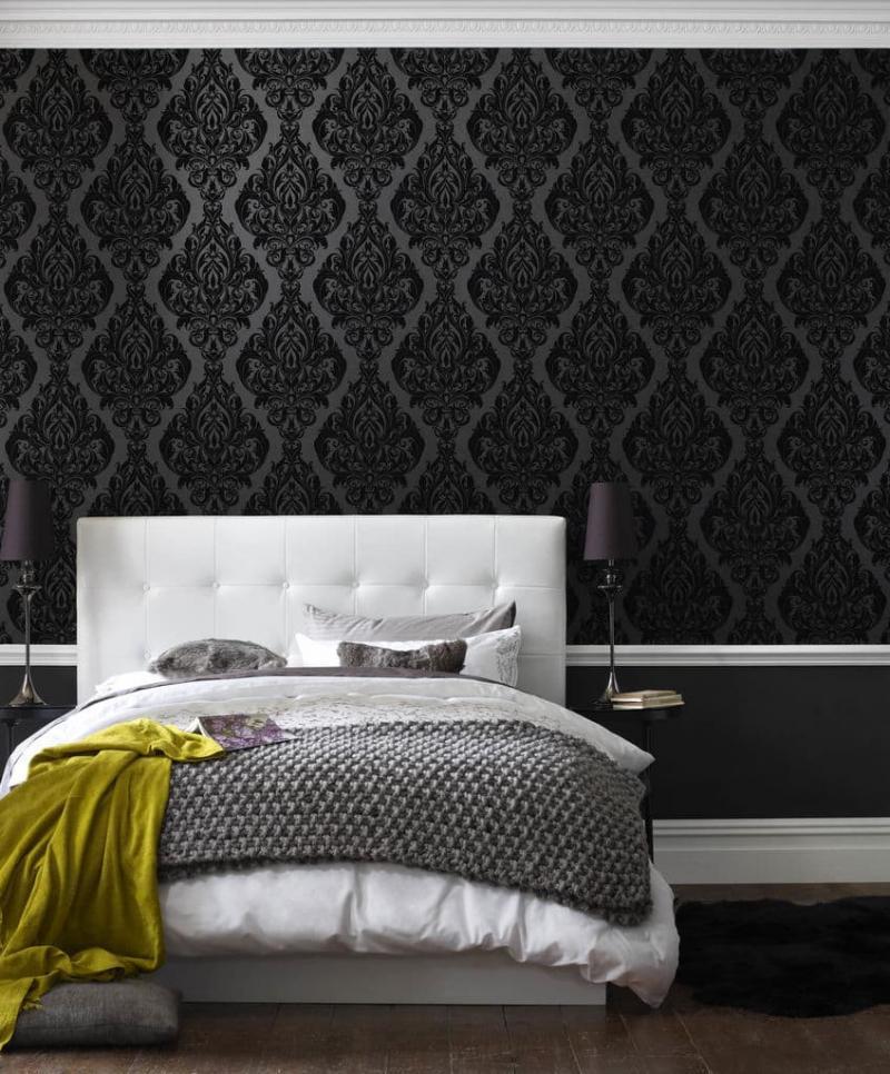 Черные обои в интерьере спальни 1