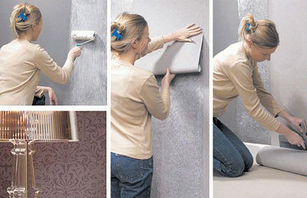 Этапы поклейки флизелиновых обоев на стену