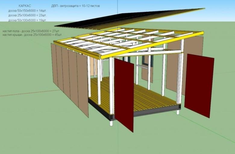 Проект каркасного гаража из дерева