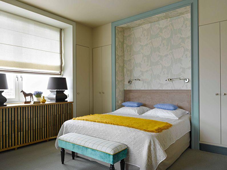 Ниша - комбинирование обоев в спальне